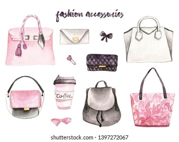 Hand drawn watercolor set of pink white grey female bag on white background. Amazing watercolor illustrations. Perfect  for postcards, peper, banner, poster,invitation, wallpaper.