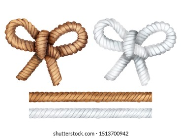Hand drawn watercolor set of rope. Rope with bow knot. Illustration isolated on white background. Clipping path included.