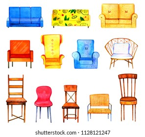 Hand drawn watercolor set of stylized colorful furniture. Sofas, chairs and  armchair isolated on white background. Template for prints, postcards and paper doll houses