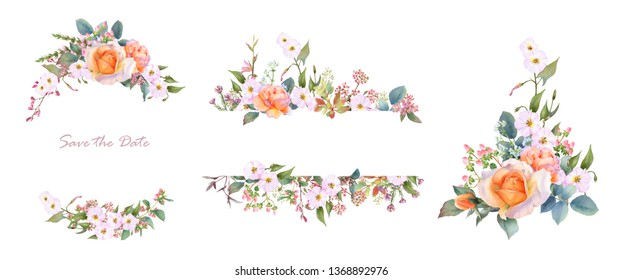 Hand drawn watercolor set of two frames and a composition with tea roses, bindweeds, leaves, flowers, herbs isolated on a white background. Botanic illustration for wedding invitations, greeting cards