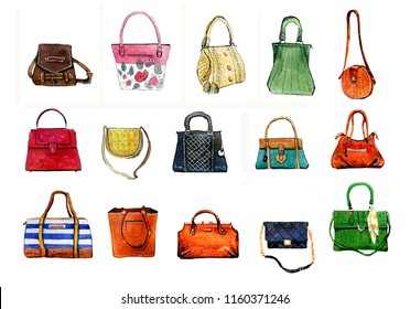 Hand drawn watercolor set of various colorful stylized female bags on white background
