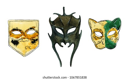 Hand drawn watercolor set of venetian masks on white background
