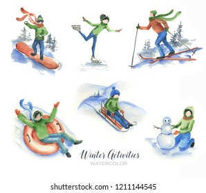 Hand drawn watercolor set of winter activities. Illustration of winter sport, vacation, games isolated on the white background