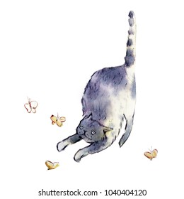 Hand drawn watercolor sketch of cute cat. Cat catching batterflys.