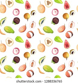 Hand drawn watercolor sketch illustration seamless pattern background with exotic fruits litchi, longan, papaya, mangosteen, granadilla, guava with place for text isolated on white art