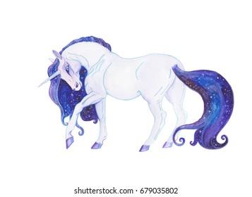 Hand drawn watercolor space unicorn