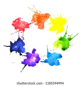 Hand drawn watercolor splashes in  a shape of color wheel palette. Isolated on white background