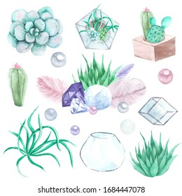 Hand drawn watercolor succulents, plant terrarium, feathers and crystals illustration, gemstone set isolated on white background. Boho design for card, poster, wedding invitations. Terrarium generator