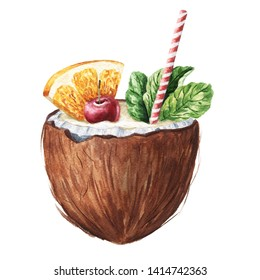 Hand drawn watercolor summer cocktail in coconut isolated on white background. Delicious food illustration.