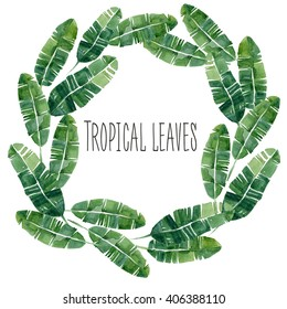 Hand drawn watercolor summer  Tropical leaves wheat. Can be used for logi