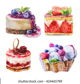 Hand drawn watercolor sweet cupcake with berry