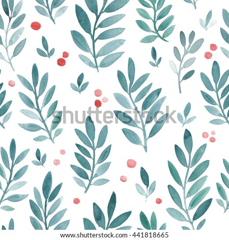 Hand Drawn Watercolor Texture Seamless Pattern With Leaves Cute Korean Japanese Design