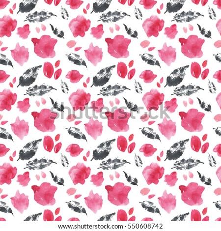 Hand Drawn Watercolor Texture Seamless Pattern With Black Leaves And Pink Flowers Cute