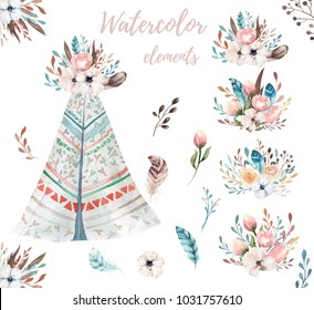 Hand drawn watercolor tribal teepee, isolated white campsite tent. Boho America traditional native ornament. Indian tee-pee with arrows and feathers