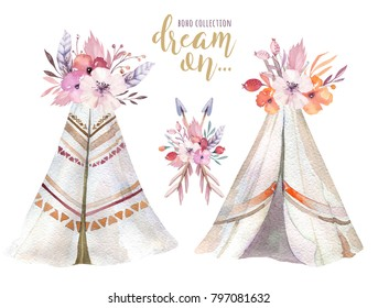 Hand drawn watercolor tribal teepee, isolated campsite tent. Boho America traditional native ornament wigwam. Indian bohemian decoration tee-pee with arrows and feathers.