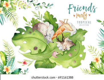 Hand drawn watercolor tropical animals. Boho deer, mouse, giraffe and bear illustrations, jungle tree, brazil trendy art. Perfect for fabric design. Aloha collection.
