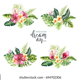 Hand drawn watercolor tropical flower bouquets. Exotic palm leaves, jungle tree, brazil tropic botany elements and flowers. Perfect for fabric design. Aloha collection.