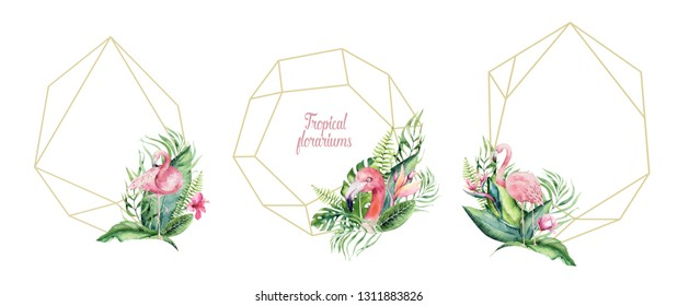 Hand drawn watercolor tropical gold florariums with flamingo. Exotic florarium frame illustrations for text, jungle exotic backgraund Perfect for wedding Aloha invitation