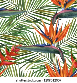 Hand Drawn watercolor tropical madagascar wildlife seamless pattern.