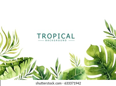 Hand drawn watercolor tropical plants background. Exotic palm leaves, jungle tree, brazil tropic borany elements. Perfect for fabric design. Aloha collection.
