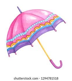 Hand drawn watercolor umbrella isolated on white background. Female romantic umbrella. Rainy or sunny day umbrella clip art.