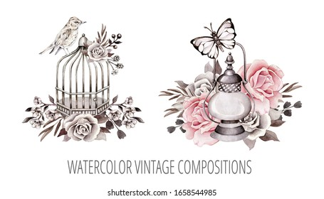 Hand drawn watercolor vintage composition isolated in white background.Botanical retro illustrations for wedding invitation, greeting card,poster