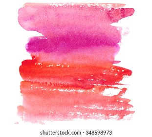 Hand drawn watercolor wash. Colorful paint stain. Vertical background in red, fichsia, pink. Grunge design element in bright juicy colors. Romantic backdrop for wedding invitations.