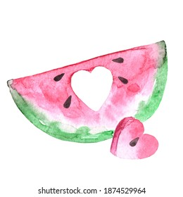 Hand drawn watercolor  watermelon slice with heart shaped piece isolated on white background. Concept love watermelon eating