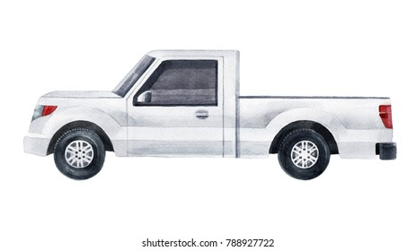 Hand drawn watercolor white pickup truck isolated on white background