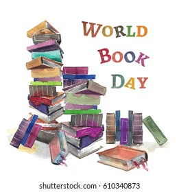 Hand drawn watercolor World Books Day card