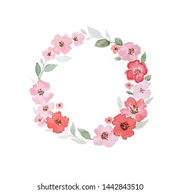 Hand drawn watercolor wreath with green leaves and red poppies on white isolated background