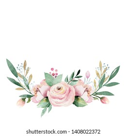 Hand drawn watercolor wreath illustration. Isolated Botanical wreathes of green branches and flower leaves. Spring and summer mood. Wedding blossom Floral Design element