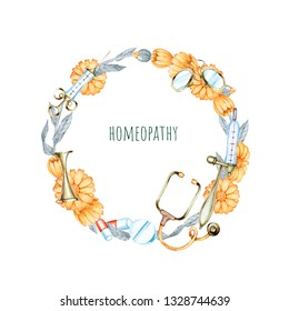 hand drawn watercolor wreath on the theme of medicine and homeopathy on white background