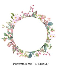 Hand drawn watercolor wreath with picturesque herbs, leaves and bloomy bindweed isolated on a white background. Ideal for creating  invitations, greeting cards. Floral illustration.Botanic composition