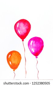 Hand drawn watercolors air ballons on clean white background