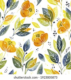 Hand drawn watercolour florals - seamless pattern on white background
