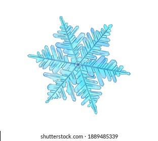 Hand drawn watercolour illustration of dark and light blue snowflake. Isolated on white background.