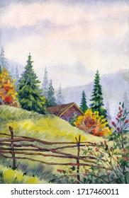 Aquarelllandschaft. Holzhütte in den Bergen