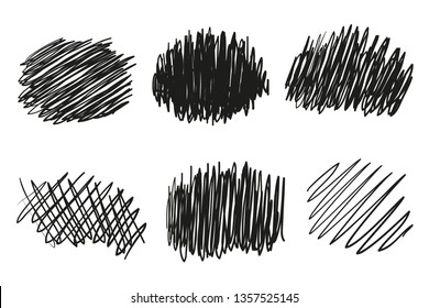 Hand drawn wavy lines on white. Stroke chaotic patterns. Black and white illustration. Sketchy elements