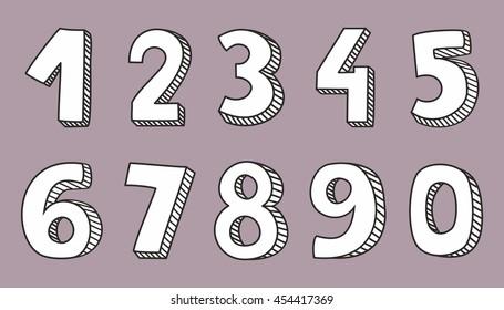 Hand drawn white numbers