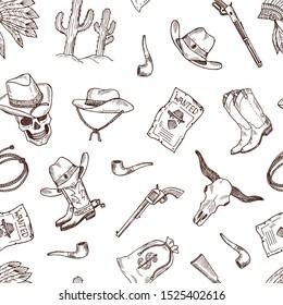 hand drawn wild west cowboy pattern or background illustration