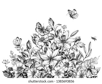 Hand drawn wildflowers bunch, flying bees and butterflies isolated on white background. Pencil drawing  elegance flowers border in vintage style.