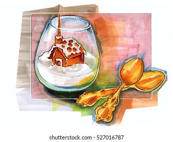 hand drawn winter dessert
