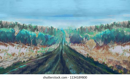 Hand drawn winter road landscape horisontal painting. Trees, highway and blue sky. Modern impressionism.