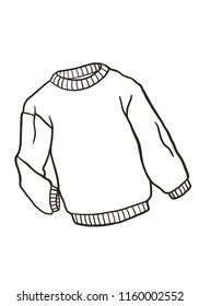 Hand drawn  winter sweater, doodle cartoon pullover, isolated on white background.