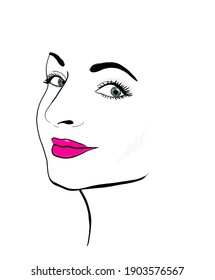 Hand drawn woman face with red lips