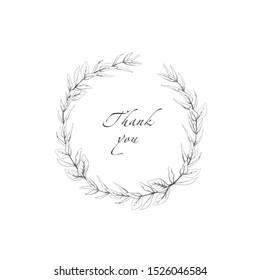 Hand drawn wreath with olive branch, round frame for inviting card