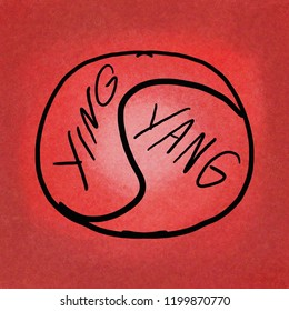 hand drawn and hand written yin yang balance symbol on red textured background with light in the center