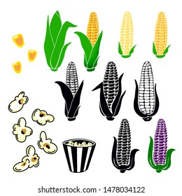 Hand drawn yellow corn cobs with green leaves, grains, popcorn popping, black white corn cobs, strip box package on white background. Organic vegetable  for magazine, book, poster, card, menu cover