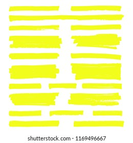 Hand drawn yellow highlight marker lines. Highlighter strokes isolated on white background set. Highlighter drawing design illustration